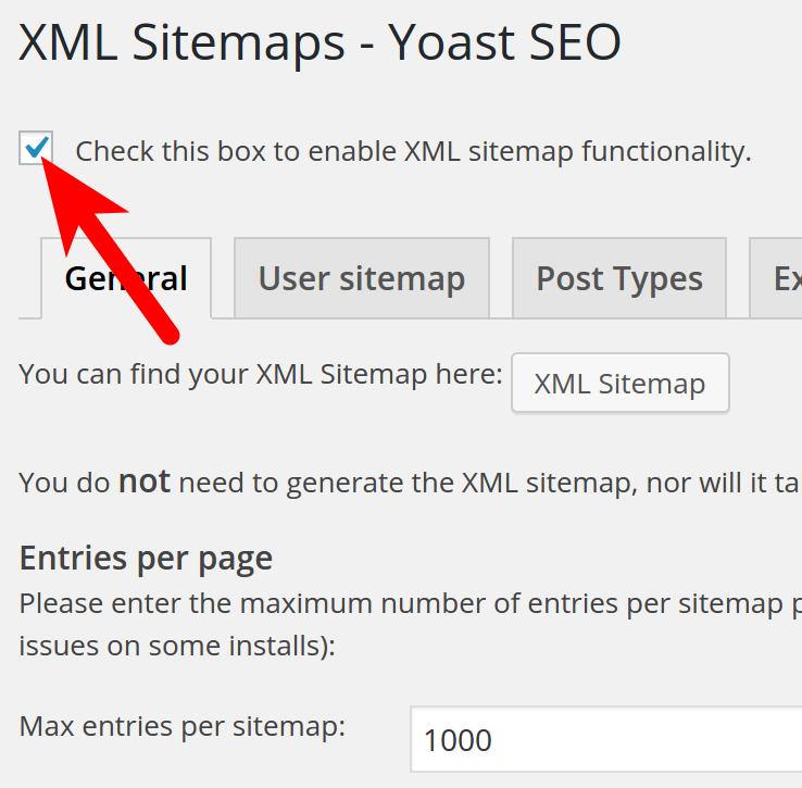 checkbox for yoast sitemap