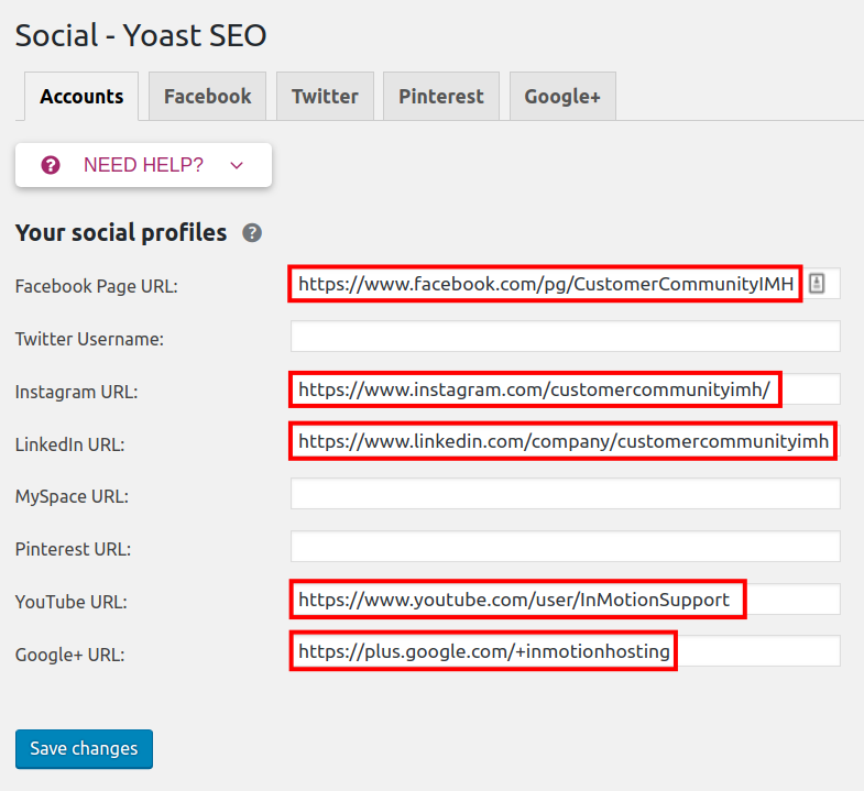 add social media profile links