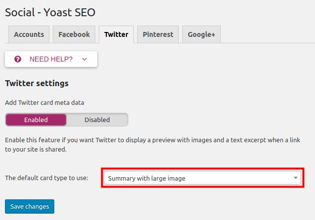 configure twitter settings in yoast