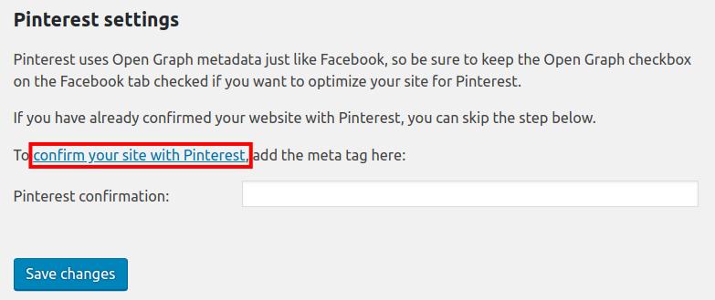 configure pinterest settings in yoast