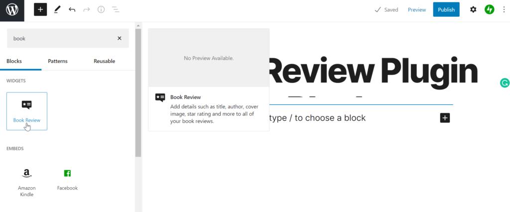 add book review plugin block