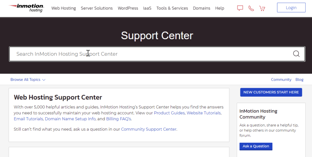 Larger search bar on InMotion Hosting Support Center homepage