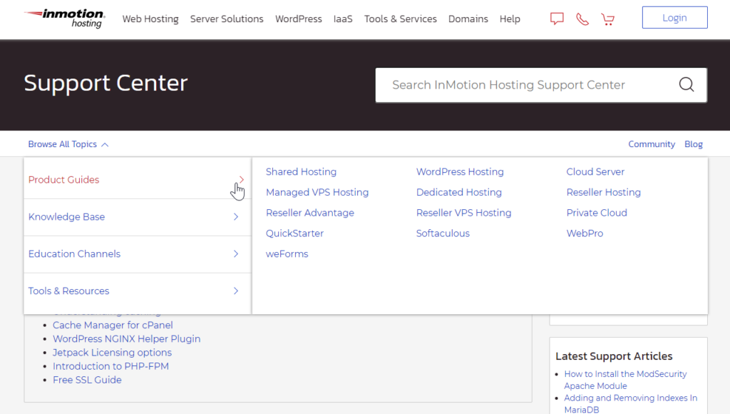 New InMotion Hosting Support Center Navigation showing category and subcategory options