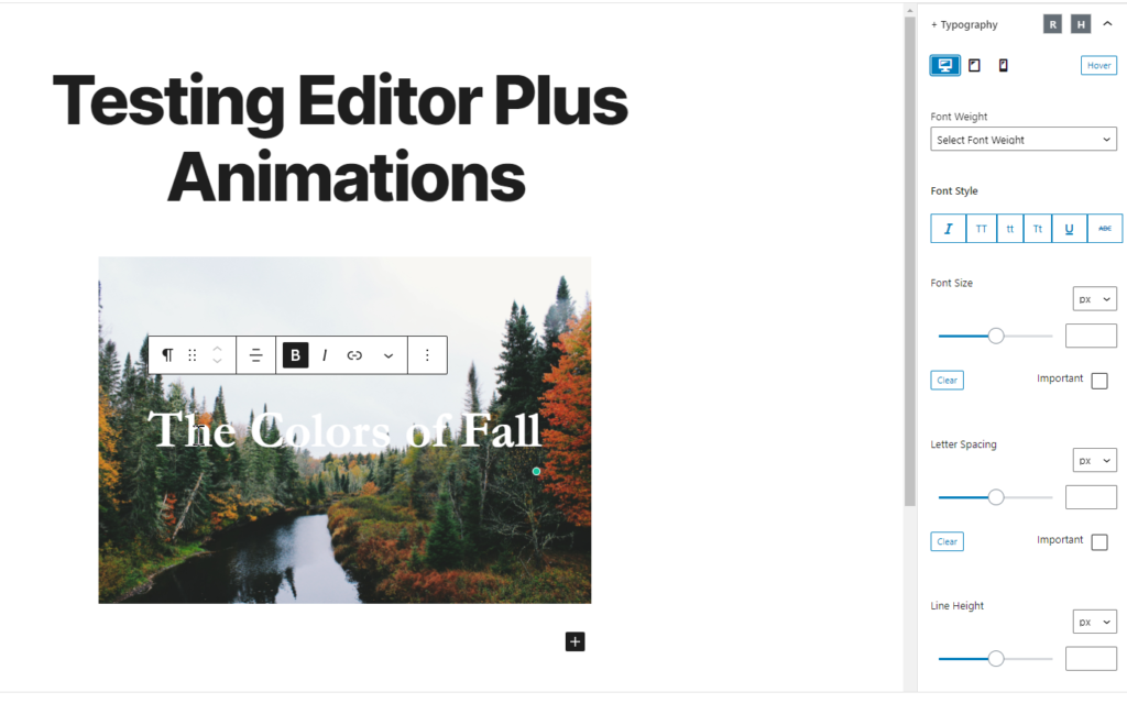 typography options for editor plus plugin