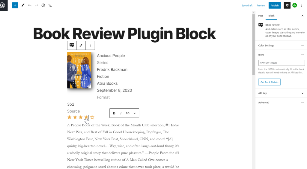 add review to book review block