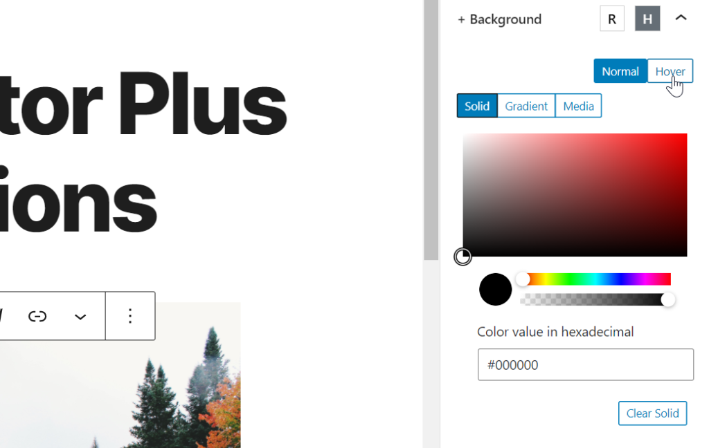 background options for editor plus plugin