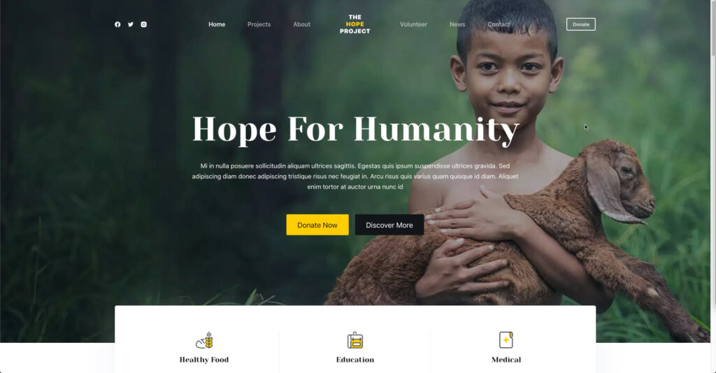 hero image - front page charity theme