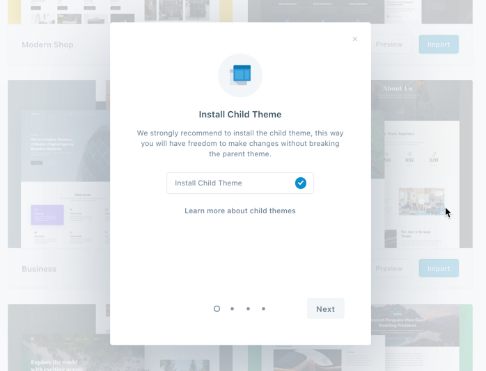 Install Child theme pop-up window