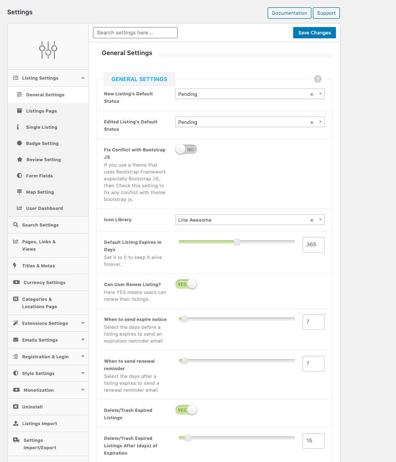 Directorist - menu and settings