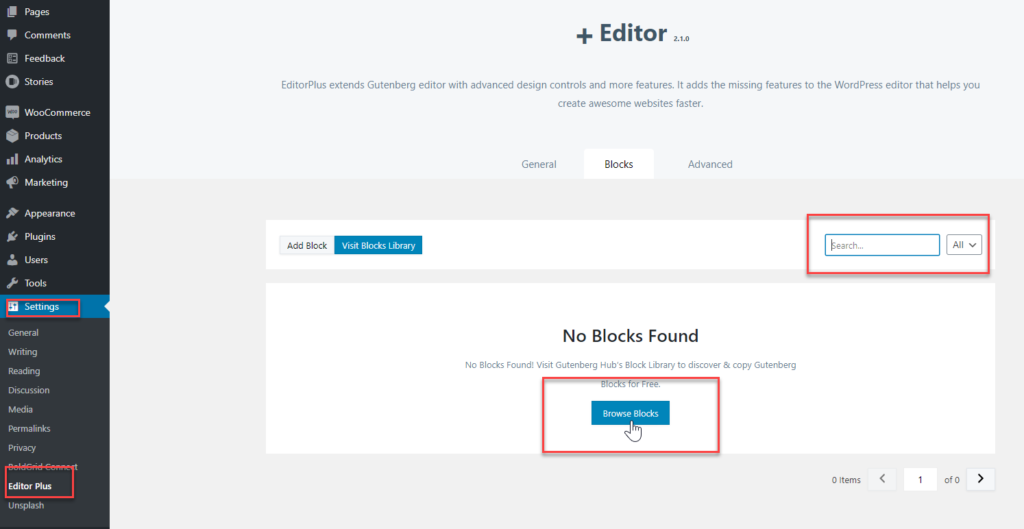 Click Browse Blocks to search for blocks on the Gutenberg Hub Library