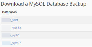 List of MySQL Database Backups