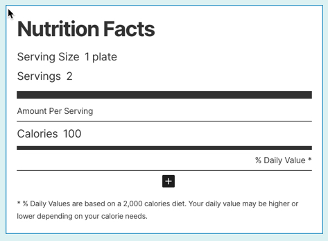 blank nutrition facts block