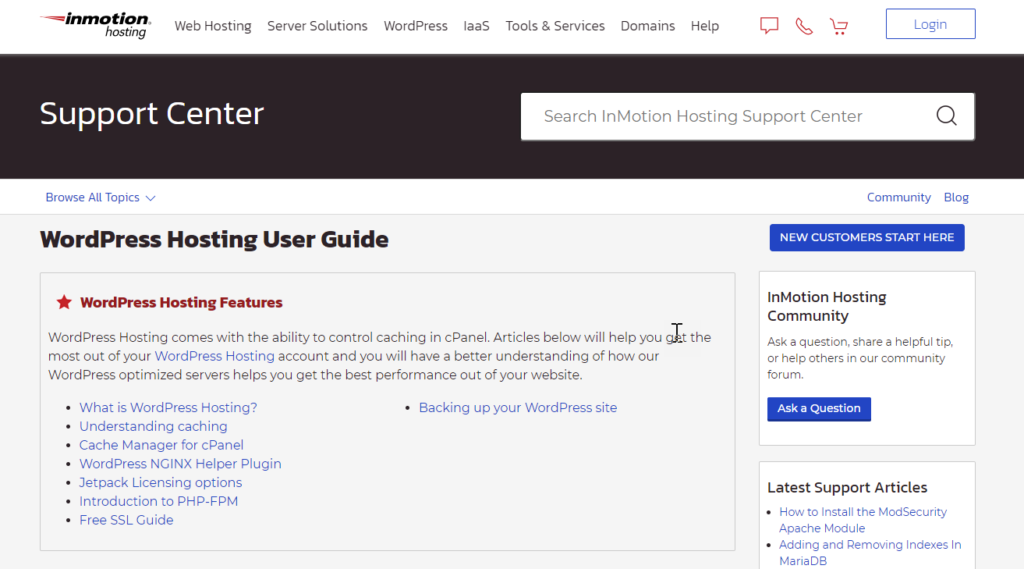 Larger search bar on InMotion Hosting category  page