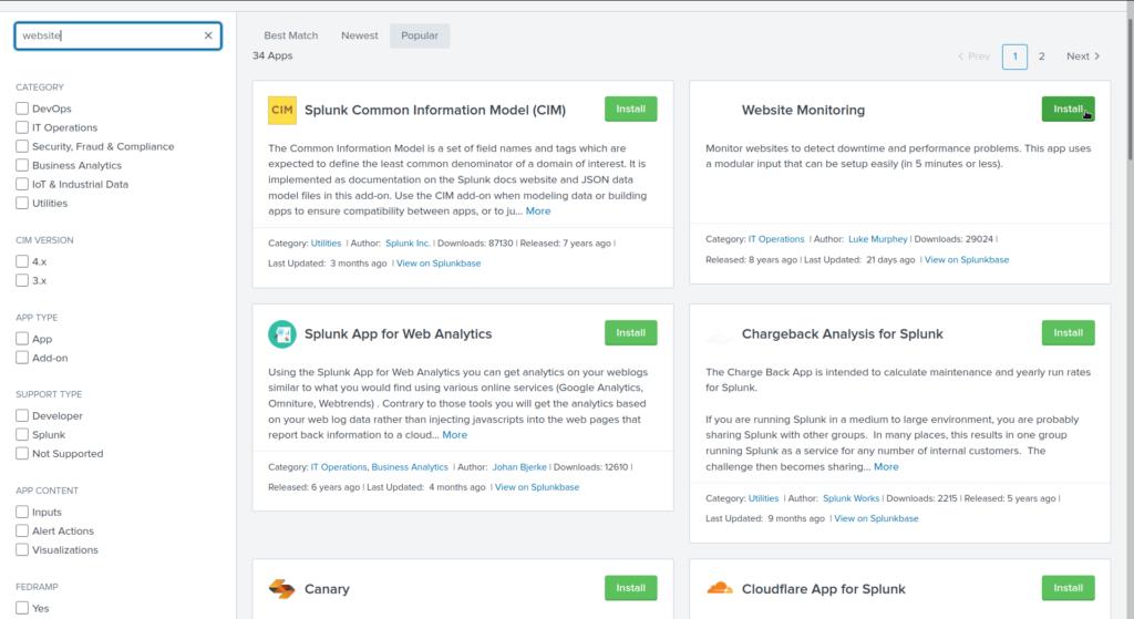 Splunk apps in web interface