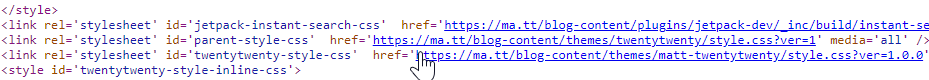 Find the style.css file while viewing page source