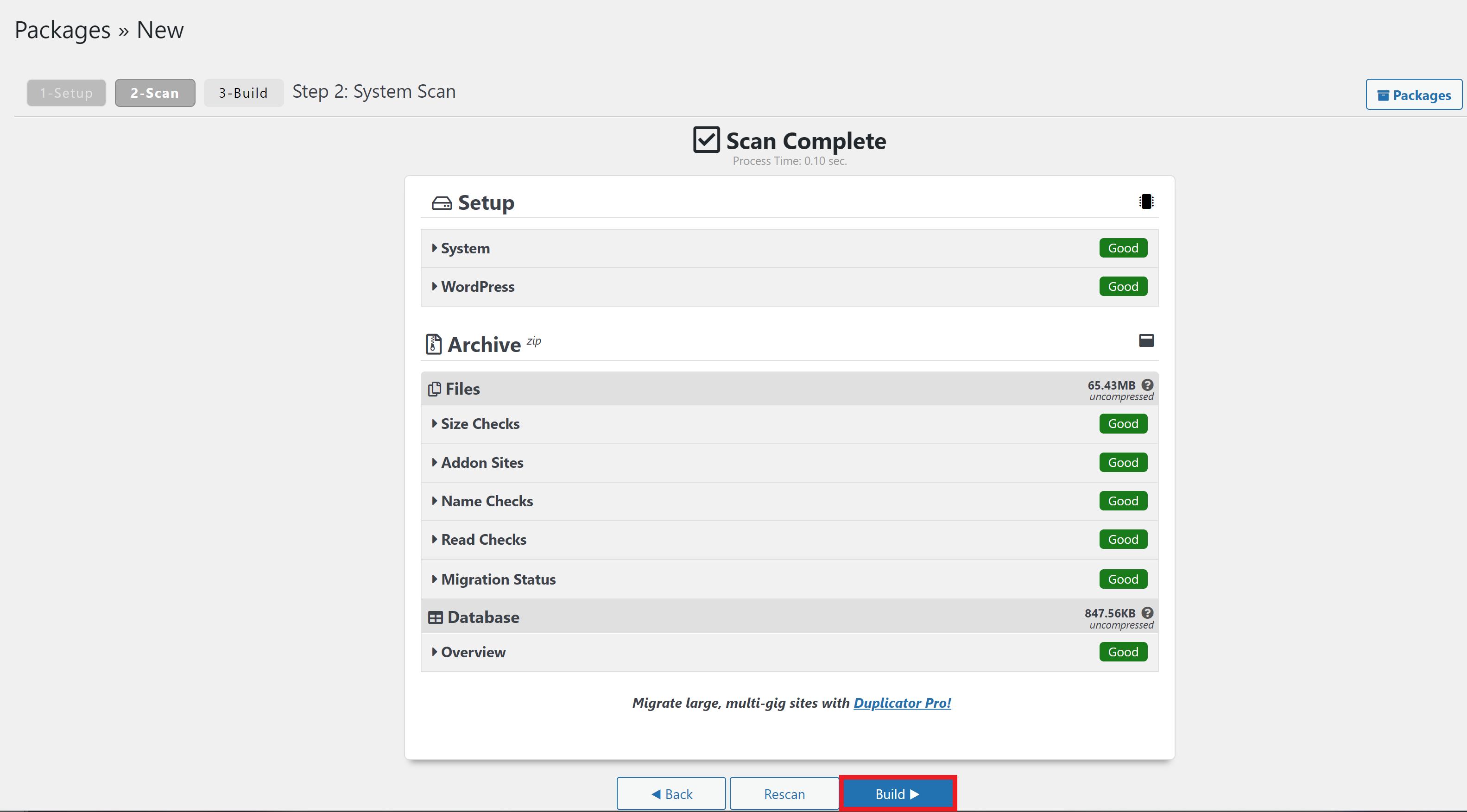 wordpress duplicator plugin scan complete