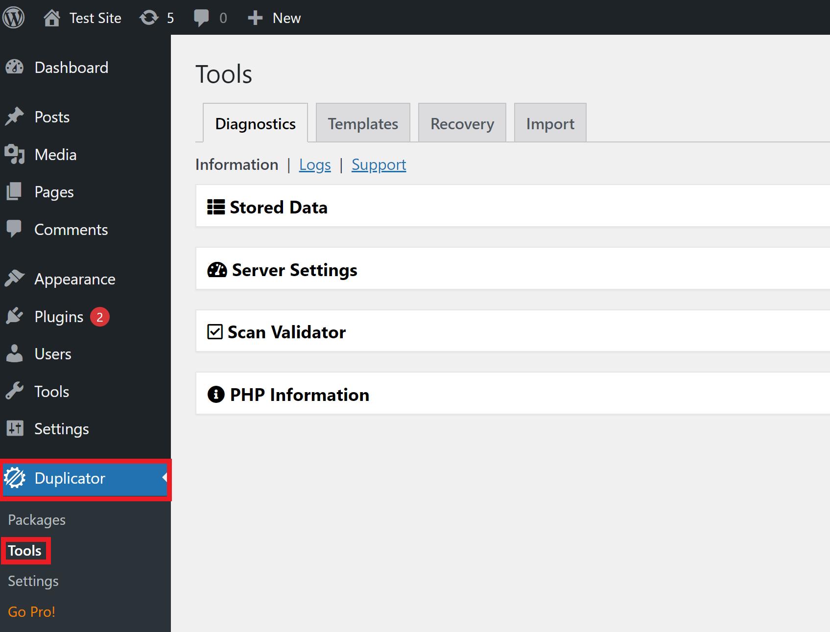 wordpress duplicator plugin tools