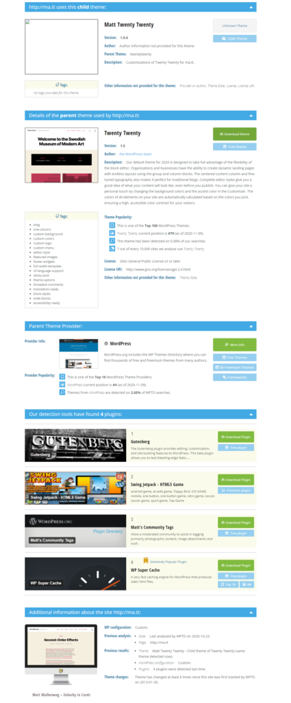 wordpress theme results from wpthemedetector