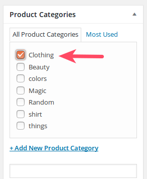 Selecting a Product Category