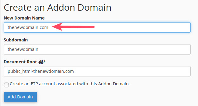 type in new domain name