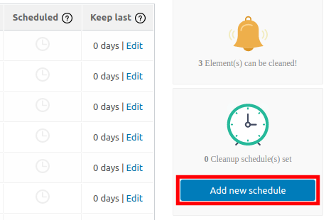 Schedule Database Cleaning
