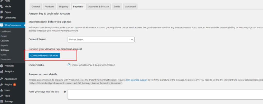 Configure Amazon Pay