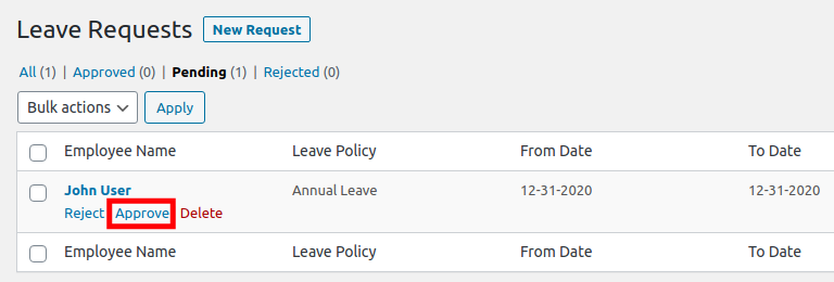 Approving a Leave Request with WP-HR Manager