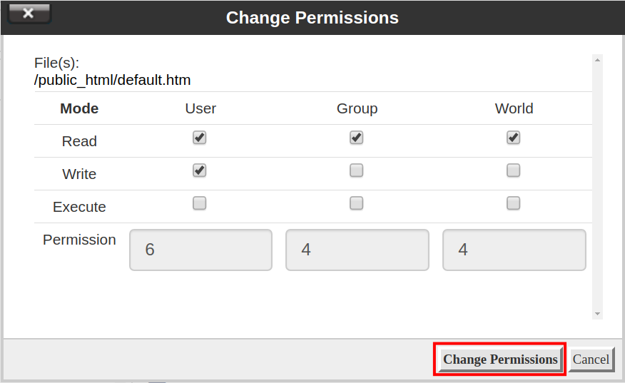 The Change Permissions box, which lets you change permissions after selecting a file or folder.