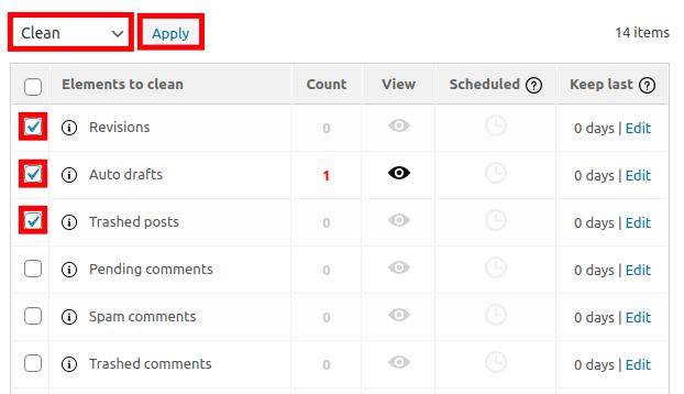 Clean Database Elements