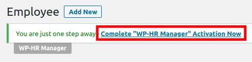 Completing WP-HR Manager Setup