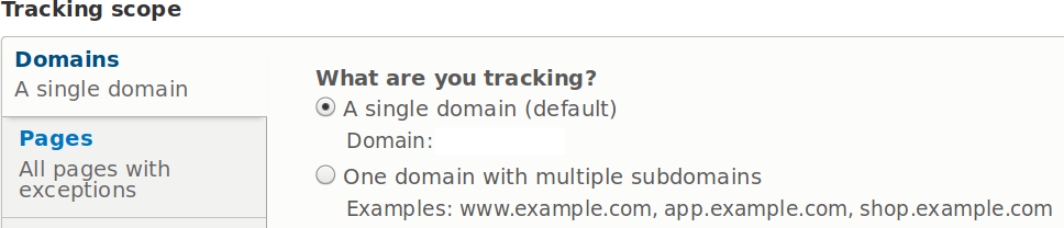 Matomo Drupal module domains settings