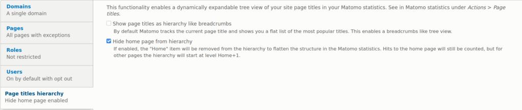 Matomo Drupal module page titles hierarchy settings