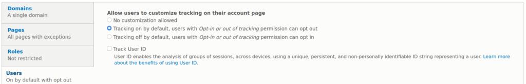 Matomo Drupal module users settings