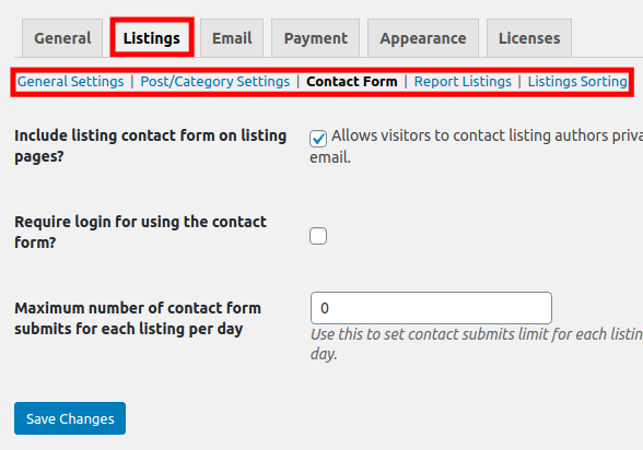 Settings for Listings