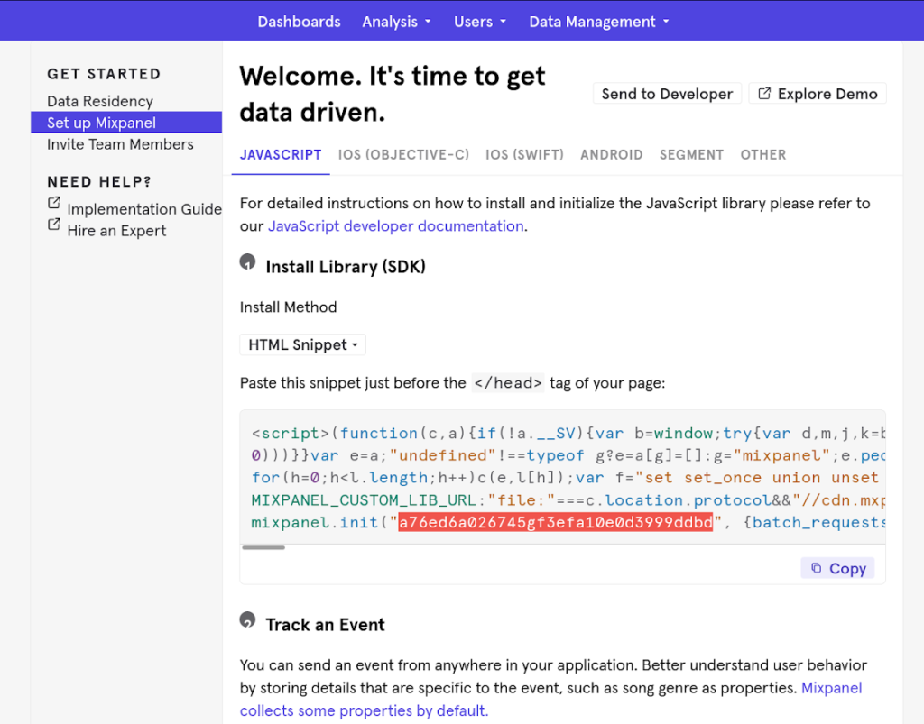 Mixpanel HTML code snippet