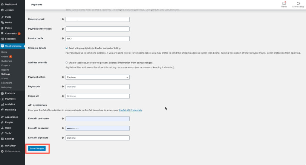PayPal Settings - part 3