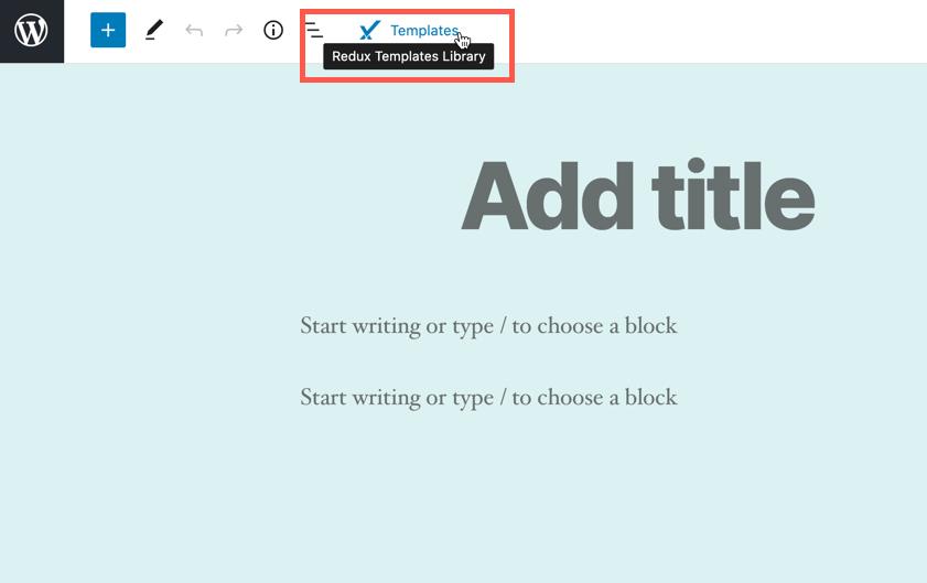 Redux templates icon in WordPress editor
