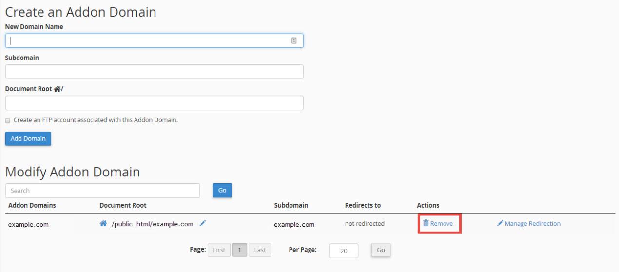 Remove Addon domain