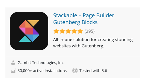 Stackable plugin in WordPress.org Plugins page