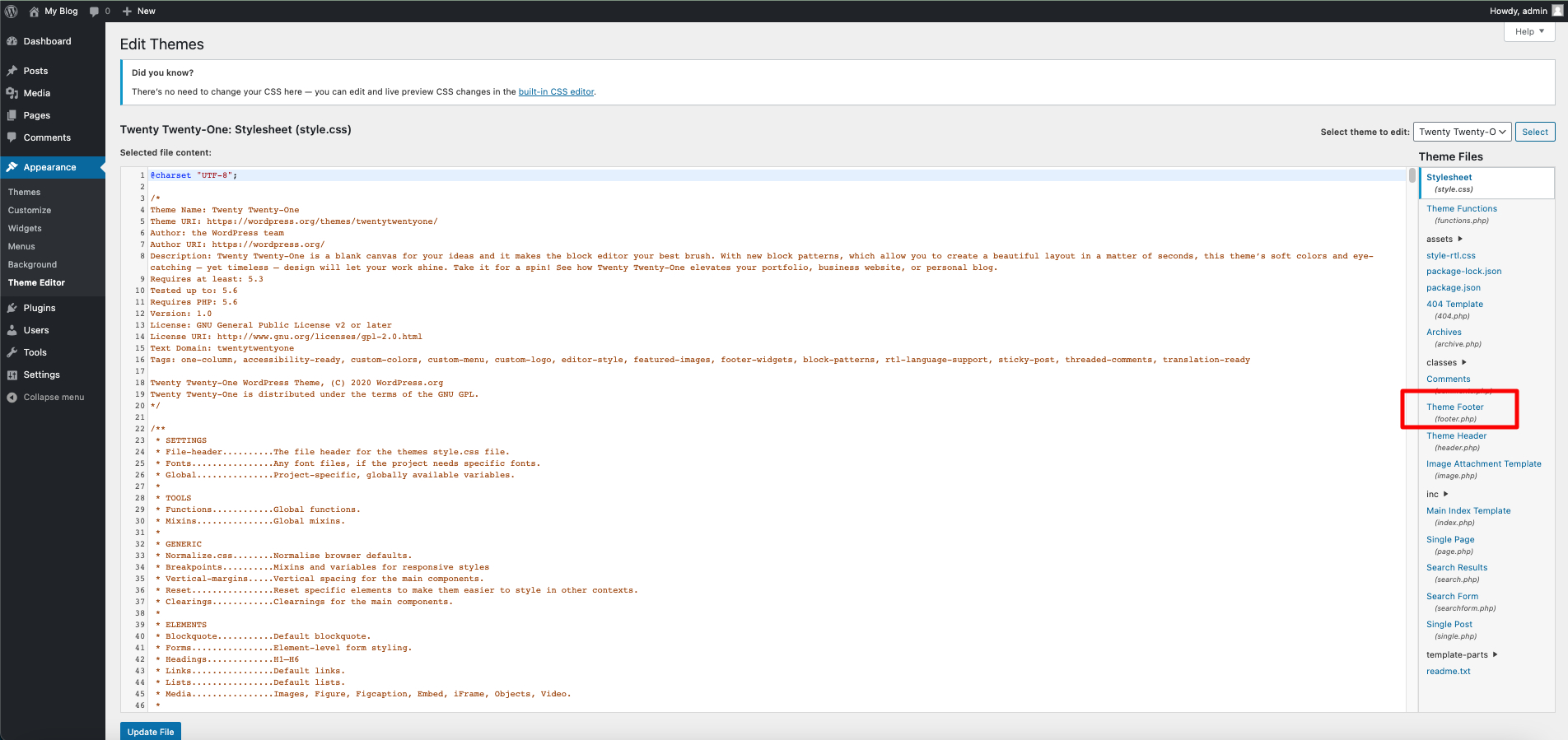 theme editor footer