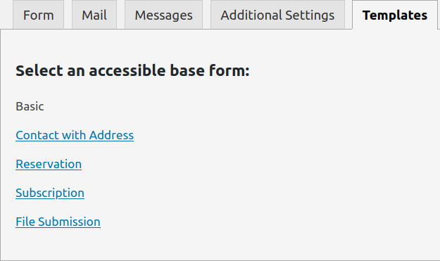 Accessible WordPress contact form examples