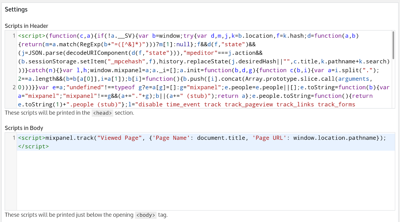 Mixpanel scripts in Insert Headers and Footers plugin