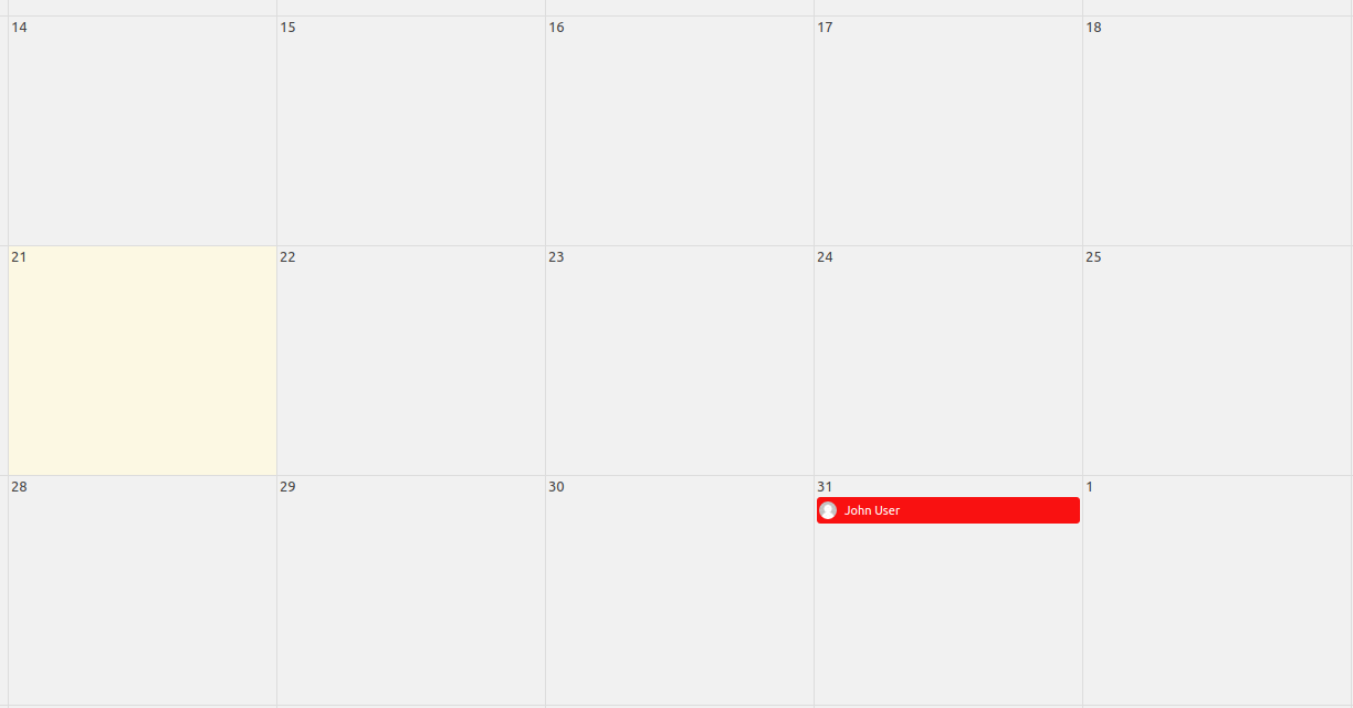View of Leave Calendar