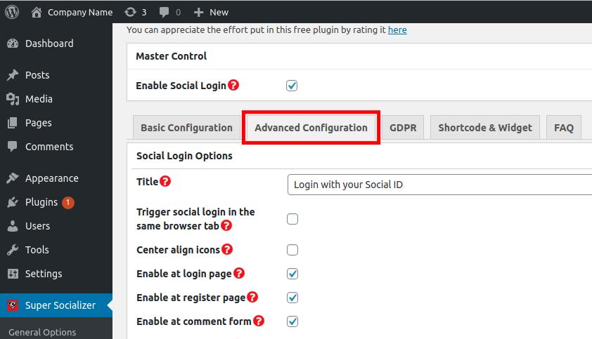 Advanced Configuration Tab