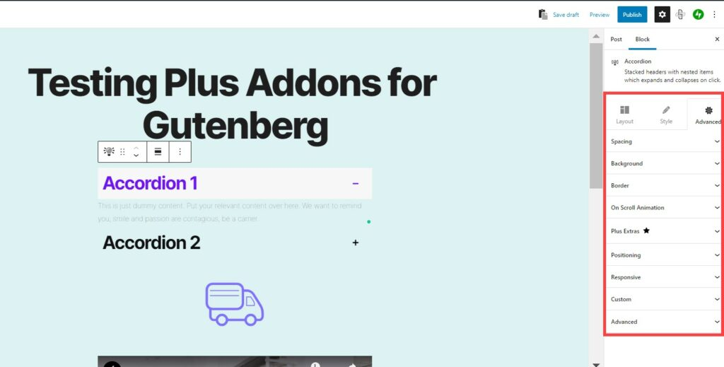 Advanced tab for the Plus Addons for Gutenberg plugin