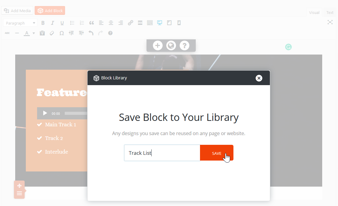 Save Block to Library