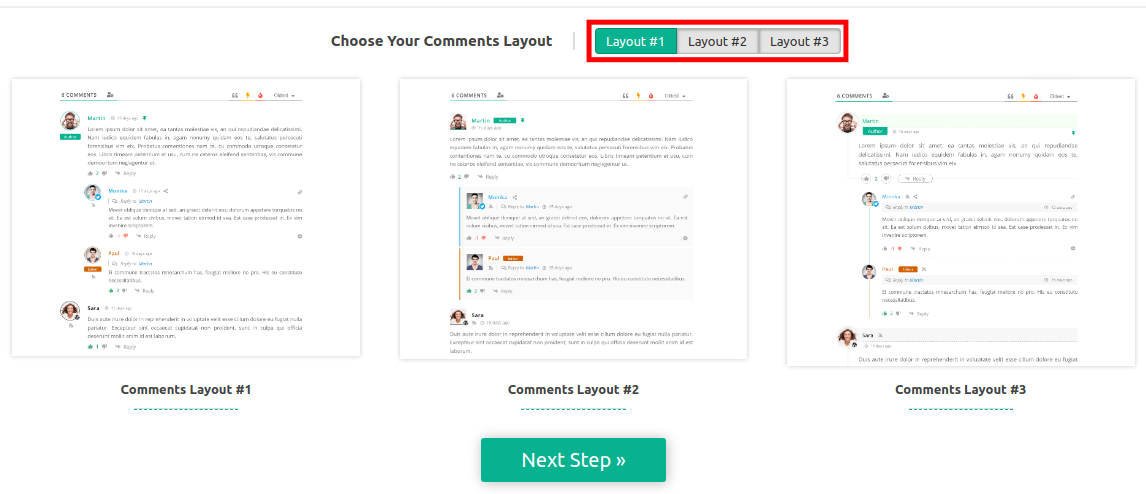 Comment Layout Options