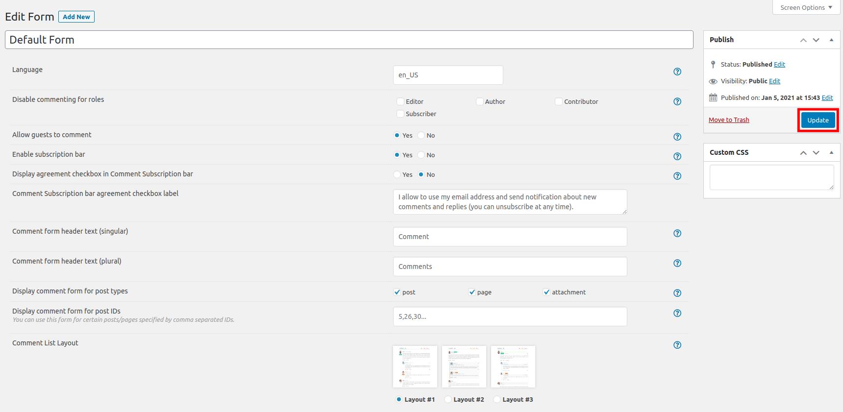 Modifying a Form in wpDiscuz