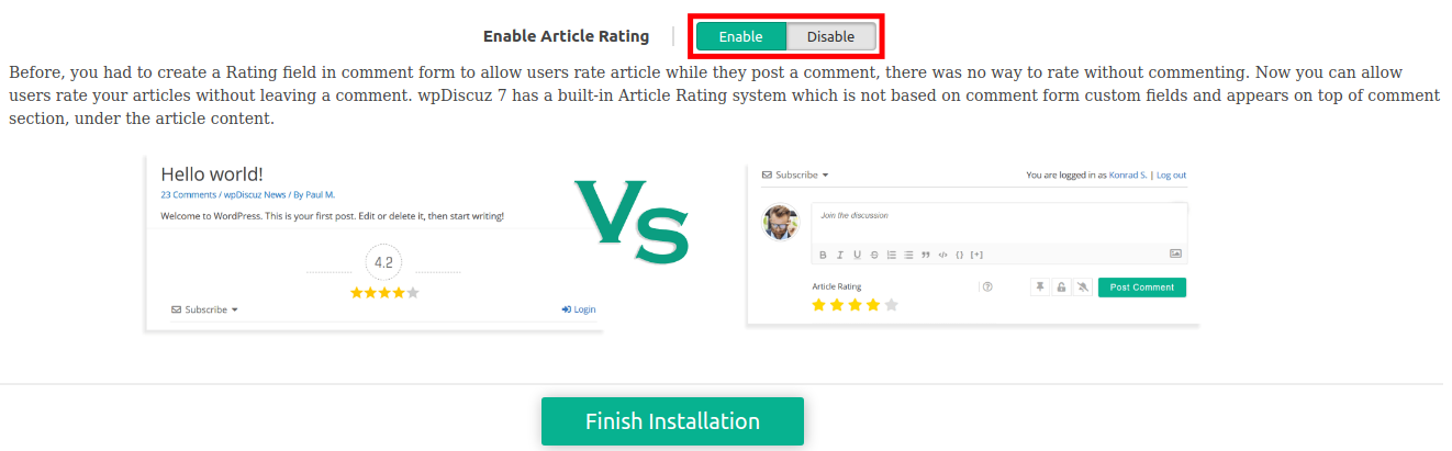 wpDiscuz Article Rating Setup