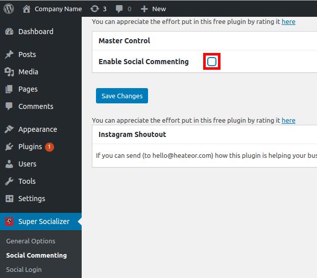 Social Commenting Setup